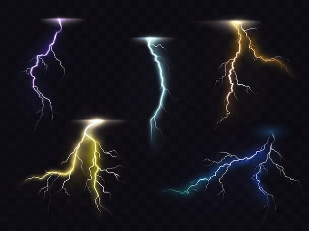 Lightning flash brilhante efeito de luz conjunto de vetores