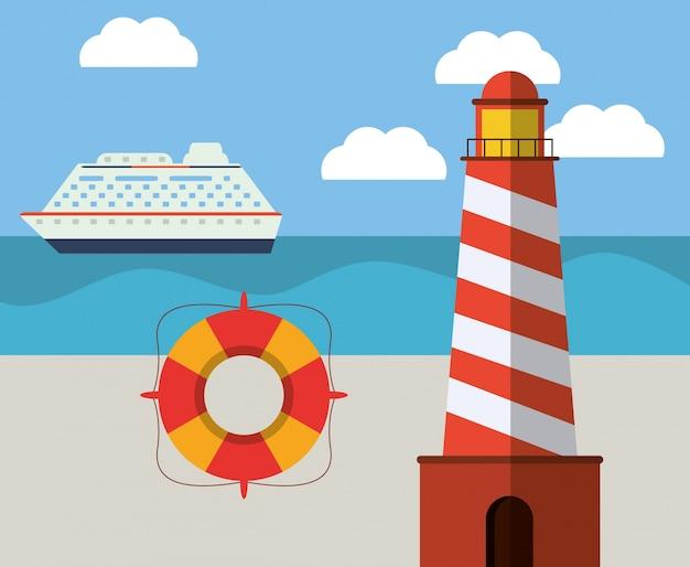 Ligthouse beach lifebuoy ship ocean