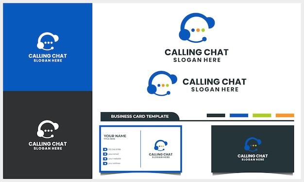 Ligue com o conceito de design de logotipo de conversa por bate-papo e modelo de cartão de visita