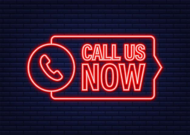 Ligue-nos agora. tecnologia da informação. ícone do telefone. atendimento ao cliente. ícone de néon. ilustração em vetor das ações.