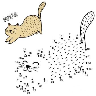 Ligue os pontos e desenhe um gato ronronante fofo. jogo de números para crianças