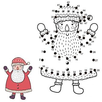 Ligue os pontos e desenhe um papai noel engraçado. jogo de números de natal para crianças. ilustração