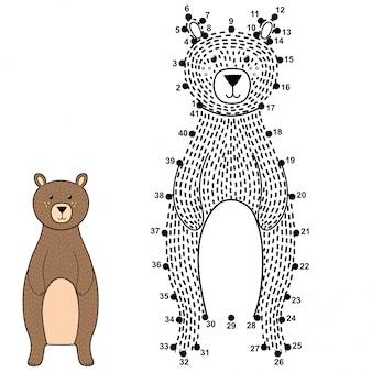 Ligue os pontos e desenhe um urso fofo. jogo de números para crianças. ilustração