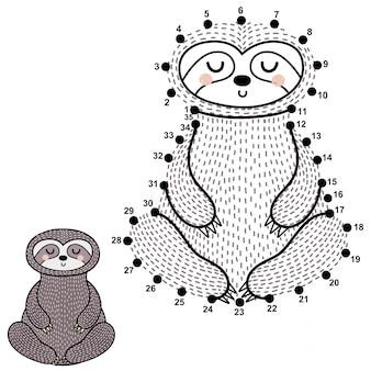 Ligue os pontos e desenhe uma preguiça meditativa fofa