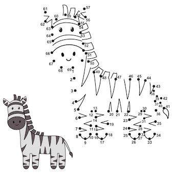 Ligue os pontos para desenhar o macaco fofo e colorir. números educacionais e jogo de colorir