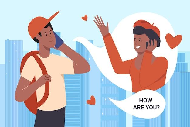 Ligue para os pais, estudante de desenho animado falando com a mãe via telefone