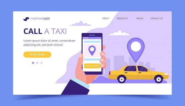 Ligue para uma landing page de táxi. ilustração do conceito com carro de táxi e mão segurando um smartphone.