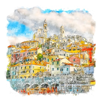 Ligúria itália esboço em aquarela.