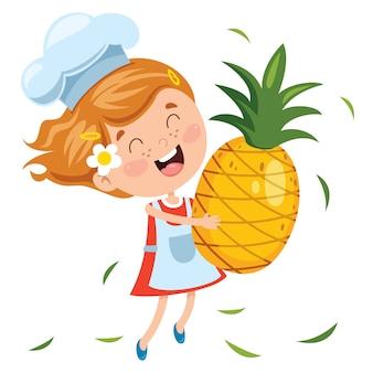 Liitle criança e fruta dos desenhos animados
