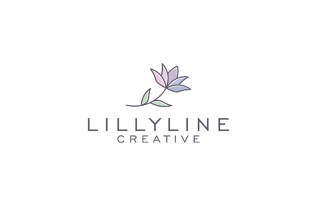 Lilly linha arte logotipo design ilustração