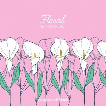 Lilly mão desenhada fundo floral