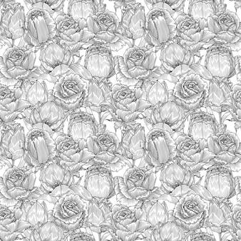 Lily e rose, monocromático padrão sem emenda