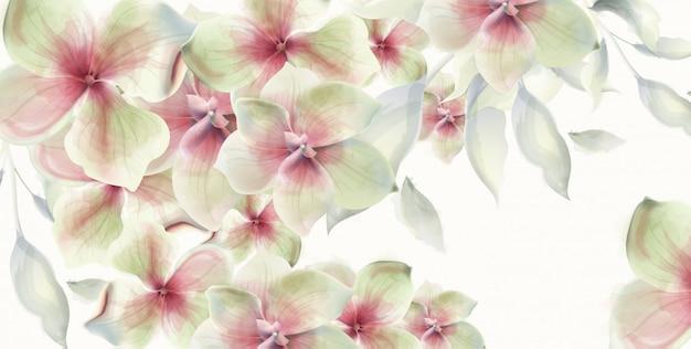 Lily flores cartão aquarela. decorações de casamento floral