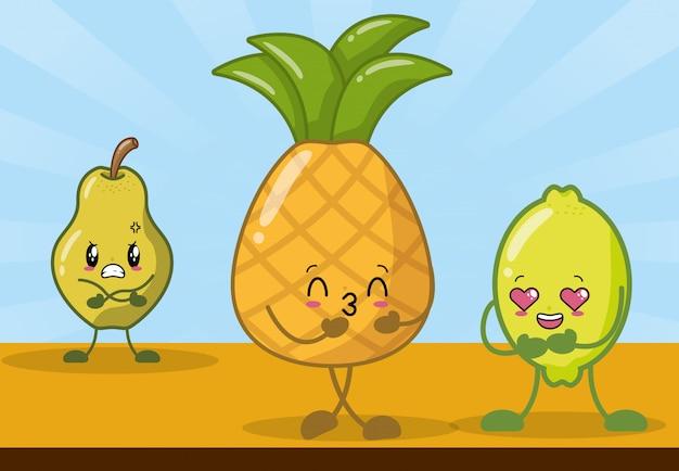 Limão, abacaxi e pêra sorrindo no estilo kawaii.