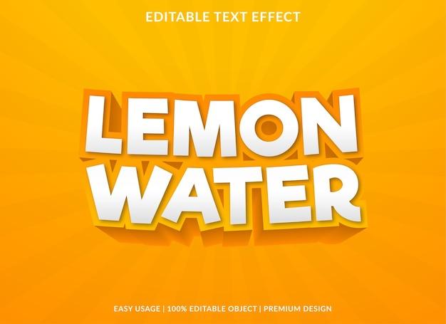 Limão água modelo efeito de texto estilo premium