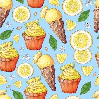 Limão colorido e frutas mandarim e sorvete de frutas cítricas