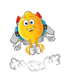 Limão com mascote jetpack. desenho animado