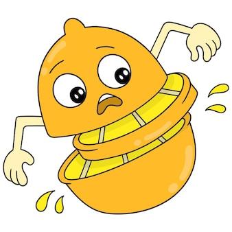 Limão com rosto bonito surpreso com corpo dividido, arte de ilustração vetorial. imagem de ícone do doodle kawaii.