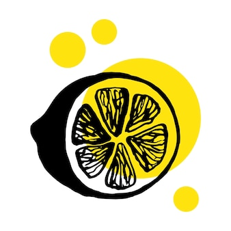 Limão desenhado de giro mão única para menu ou receita. ilustração em vetor doodle. fresco e saboroso.