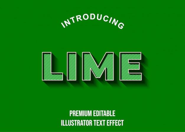 Limão - fonte 3d verde escuro efeito de texto estilo