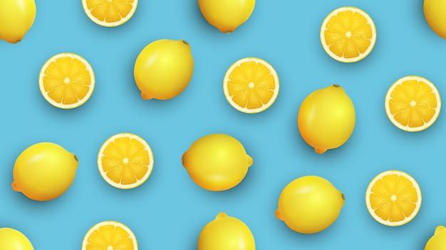 Limão fresco e fatias, sem costura padrão de verão