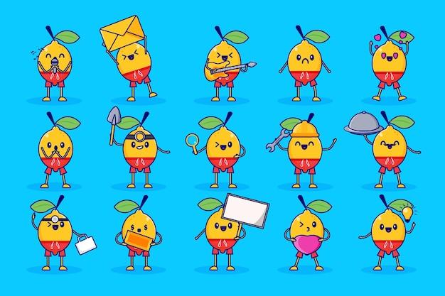 Limão fruta conjunto de personagens fofos