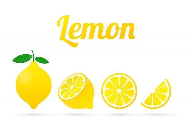 Limão. ilustração de limão amarelo isolada.