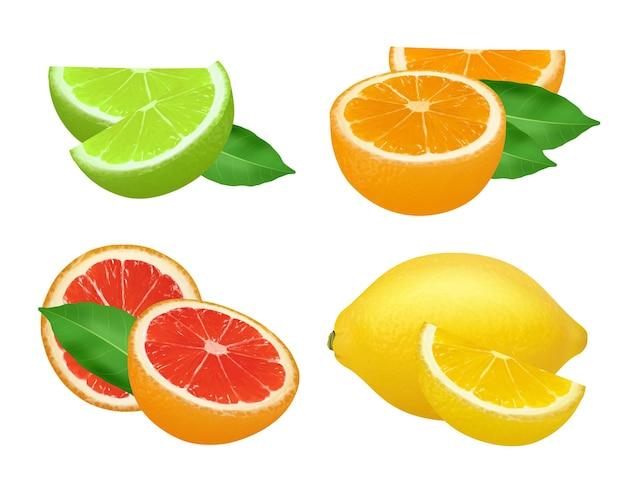 Limão, limão, toranjas e laranja natural frutas saudáveis alimentos imagens realistas.