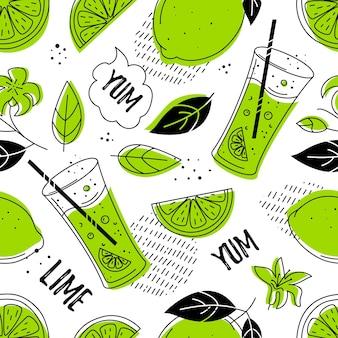 Limão, padrão sem emenda legal. estilo doodle.
