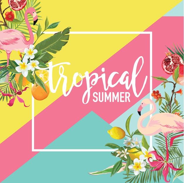 Limão tropical, frutas de romã, flores e banner de verão de pássaros flamingo, plano de fundo gráfico, convite floral exótico, folheto ou cartão. página inicial moderna