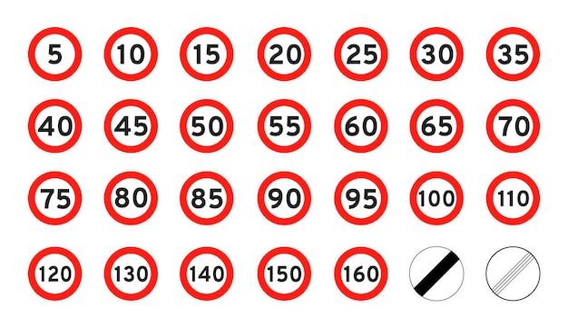 Limite de velocidade 5160 redondo ícone de tráfego rodoviário sinal estilo plano design ilustração vetorial
