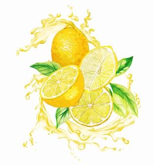 Limões amarelos e folhas no respingo de suco amarelo