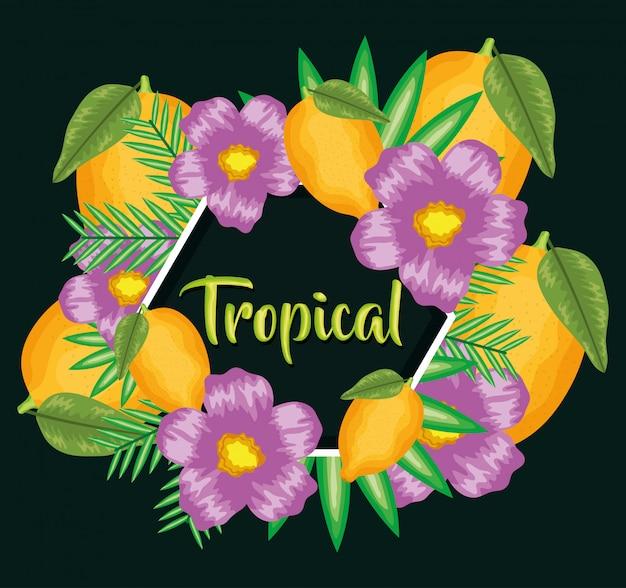 Limões frescos frutas com moldura de flores e folhas