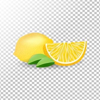 Limões frescos realistas em fundo transparente