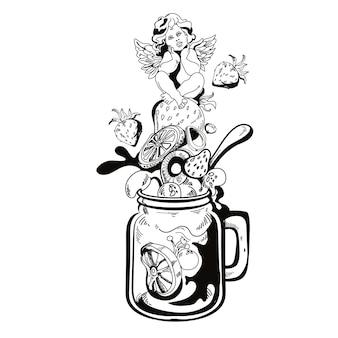 Limonada caseira com anjo sentado em um morango. ilustração desenhada à mão