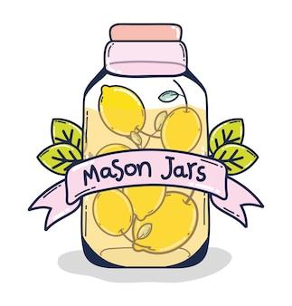 Limonada de desintoxicação de suco de fruta em frasco de vidro