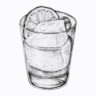 Limonada desenhada à mão com gelo
