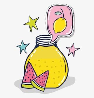 Limonada em desenhos animados bonitos de mason jar