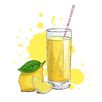 Limonada fresca com rodela de limão e palha.
