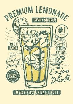 Limonada, pôster de ilustração vintage.