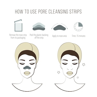 Limpa a tira dos poros. lindas mulheres jovens com máscara limpa. procedimento antes e depois. tratamentos faciais
