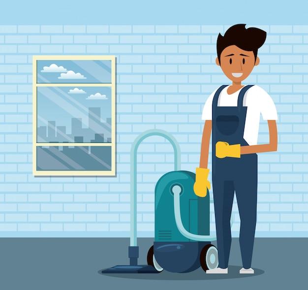 Limpador com produtos de limpeza serviço de limpeza