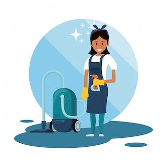 Limpador com produtos de limpeza serviço de limpeza Vetor grátis