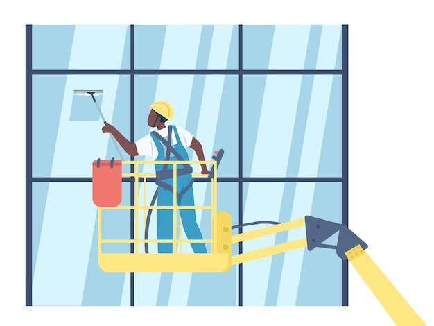 Limpador de lavagem de janelas de cor lisa personagem sem rosto. zelador afro-americano no elevador isolado ilustração dos desenhos animados para animação e design gráfico da web. empresa de limpeza, serviço de zeladoria
