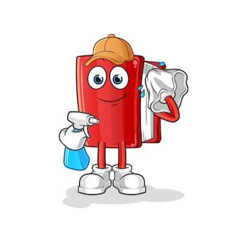 Limpador de livros. personagem de desenho animado
