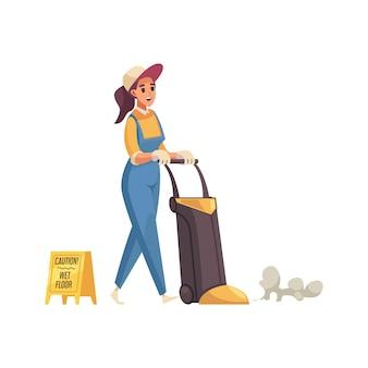 Limpador de mulher feliz esfregando o chão com ícone plano de equipamento profissional