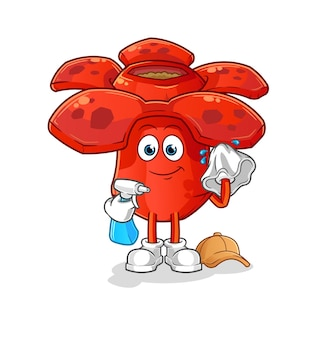 Limpador de rafflesia. mascote dos desenhos animados mascote dos desenhos animados Vetor Premium