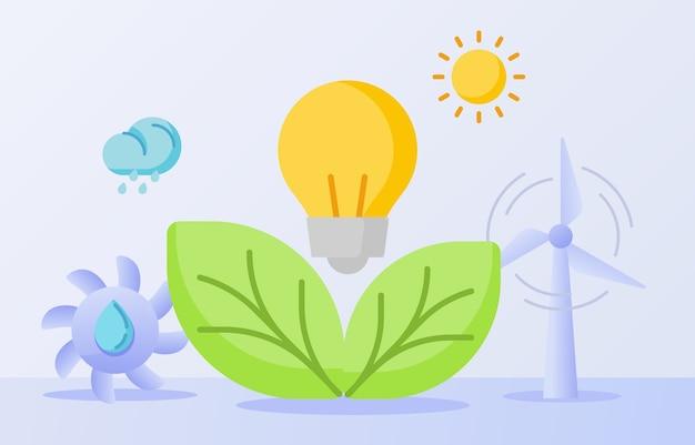 Limpe a natureza, energia, lâmpada, folha, hidro, energia, vento, sol