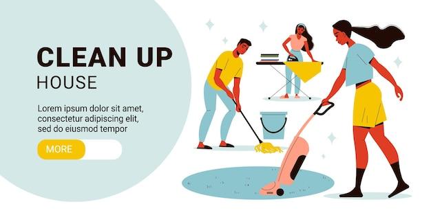 Limpe a página de destino do banner horizontal com pessoas fazendo vários trabalhos domésticos