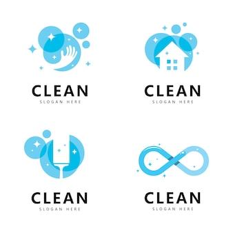 Limpe e lave símbolos criativos empresa serviços de limpeza design gráfico
